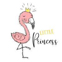 Flamingo. Kleine Prinzessin. Flamingomädchen in einer netten Art. Inschrift. Vektor.
