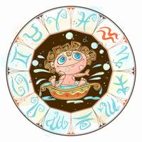 Zodiac for kids. Aquarius sign . Vector. Astrological symbol as cartoon character vector
