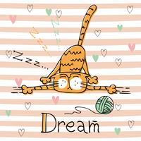 Cute sleeping cat on striped background. Vector