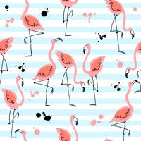 Seamless pattern with flamingos on striped background. Summer motifs. Vector