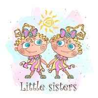 Two little sisters. Twin girls. Vector illustration.