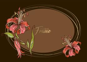 Festive elegant oval frame with flower Lily. Vector