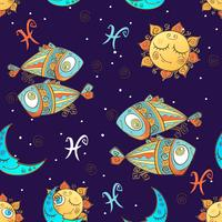 A fun seamless pattern for kids. Zodiac sign Pisces. Vector.