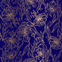 Golden lilies on a dark blue background. Seamless pattern. Vector