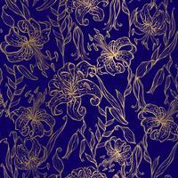 Lirios de oro sobre un fondo azul oscuro. Patrón sin costuras Vector
