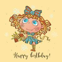 Feliz cumpleaños. Tarjeta de cumpleaños para niñas en la ocasión. Vector
