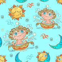 Ein Spaß nahtlose Muster für Kinder. Sternzeichen Wassermann. Vektor