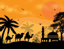 African desert of palm tree and animals night landscape