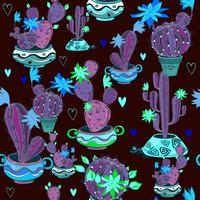 Blooming cacti in funny pots. Seamless pattern. Vector.