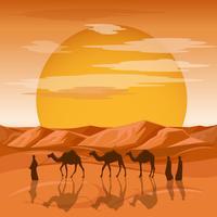 Deserto africano de palmeira e animais noite paisagem