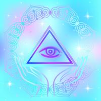 Sacred sign. The all-seeing eye. Spiritual energy. Alternative medicine. Esoteric. Vector.