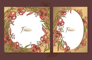 Set of gold wedding frames cards with a bouquet of lilies. vector