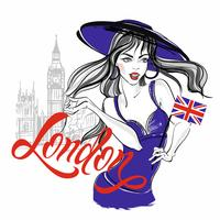 Girl model in a hat on the background of big Ben in London. Lettering. Vector.