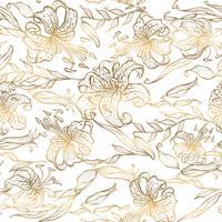 Nahtloses Muster. Goldlilien auf weißem Hintergrund. Vektor.