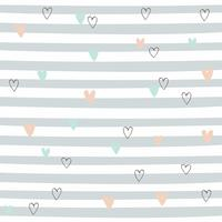 Striped seamless pattern with hearts. Cute pattern with gray stripes. Vector