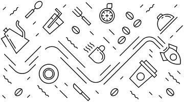 Flache Linie Design für Kaffee, Restaurant, Wandkunst, Hintergrund, Verpackung, Muster, usw. modernes geometrisches Gekritzelartschwarzweiss-design