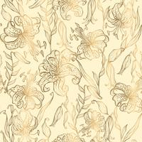Seamless pattern.Gold lilies on a vanilla background. Vector