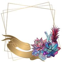 Gold wedding frame with peony flowers. Vector.