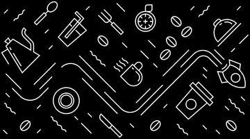 Vlakke lijn ontwerp voor caffee, restaurant, kunst aan de muur, achtergrond, verpakking, patroon, enz. Zwart en wit moderne geometrische doodle stijl ontwerp