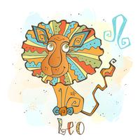 Children's horoscope icon. Zodiac for kids. Leo sign . Vector. Astrological symbol as cartoon character.