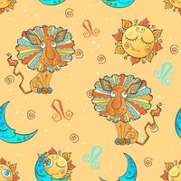 A fun seamless pattern for kids. Zodiac sign Leo. Vector.