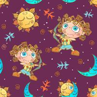 A fun seamless pattern for kids. Zodiac sign Sagittarius. Vector