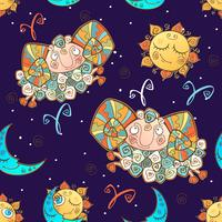 A fun seamless pattern for kids. Zodiac sign Aries. Vector.