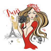 Girl tourist with a camera taking pictures of attractions in Paris.Travel. Eiffel tower. Vector.