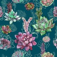 Seamless pattern with succulents on green background