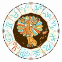 Horoscope for children sign Leo in the zodiac circle. Vector