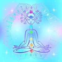 Girl in the Lotus position and chakras of man. Reiki energy. Vector