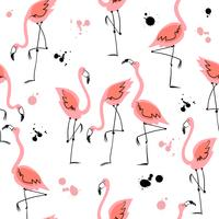 Seamless pattern with flamingos. Summer motifs. Vector.
