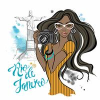 Girl photographer in Rio de Janeiro. Travelling to Brazil. Travel. Watercolor stains. Vector