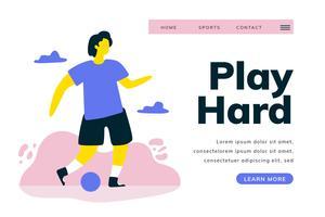 Pagina di atterraggio di calcio con il calciatore nel paesaggio