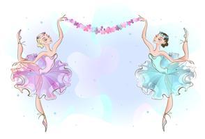 Marco postal con dos bailarinas bailarinas. Vector