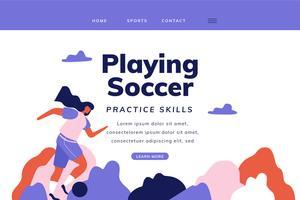 Pagina di atterraggio di calcio con la donna che gioca a calcio