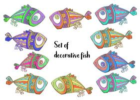 Decorative tropical fish. Set of fish. Vector.