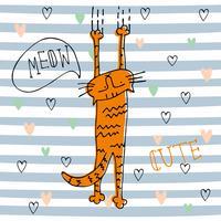 Rode grappige kat in schattige stijl op gestreepte achtergrond. Vector