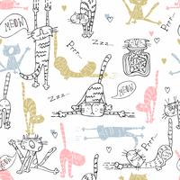 Seamless pattern with funny cats in cute style. Vector