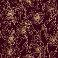Gold lilies on a Burgundy background. Seamless pattern. Vector