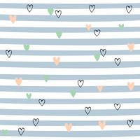 Striped seamless pattern with hearts. Cute pattern with blue stripes. Vector