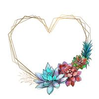Heart-shaped frame with bright succulents. Vector illustratiun