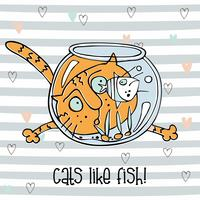 Cheerful cat watching fish in the aquarium. Cute Doodle style . Striped background. Vector