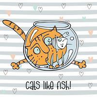 Vrolijke kat kijken naar vis in het aquarium. Leuke doodle stijl. Gestreepte achtergrond. Vector