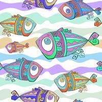 Peces tropicales decorativos. Patrón sin costuras Mundo submarino. Vector.