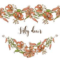 Seamless pattern border with lilies. Vector illustration.