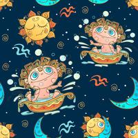 A fun seamless pattern for kids. Zodiac sign Aquarius. Vector