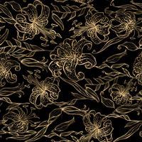Modello oro floreale su sfondo nero. Mazzo di gigli. Vettore