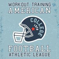 T-shirt design di stampa. Poster vintage di casco football americano