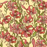 Seamless pattern with Tiger lilies. Vector illustration